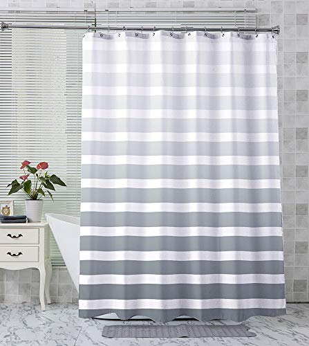AmazerBath Ombre Stripe Shower Curtain, Grey Striped Shower Curtain for Bathroom, Fabric Shower Curtain 150G with Weighted Hem, Washable Curtain for Home and Hotel, 72x72 Inches