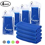 SYOURSELF 4 Pack Cooling Towels for Instant Relief-Cool Bowling Fitness Yoga Towel-40 x12 Use as Cooling Neck Headband Bandana Scarf,Stay Cool for Travel Camping Golf Football&Outdoor Sports(Dblue)