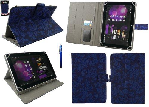 emartbuy® Denver TAQ-10153 10.1 Zoll Tablet Universalbereich Vintage Floral Blau Multi Winkel Folio Executive Case Cover Wallet Hülle Schutzhülle mit Kartensteckplätze + Blau Eingabestift