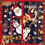 Sunshine smile Noel Autocollants, Noël Stickers, Fenetre Noël Décoration, DIY Autocollant Fenetre Stickers, Fenêtre Flocon de Neige, Flocon de Neige Noël Nouvel, Noël Accueil Decal Décoration (4)