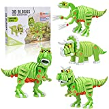 Dinosaur 3D Puzzles, 4-in-1 Soft EVA Building Blocks STEM Construction Educational Toy for 8+ Year Old Kids Boys Girls