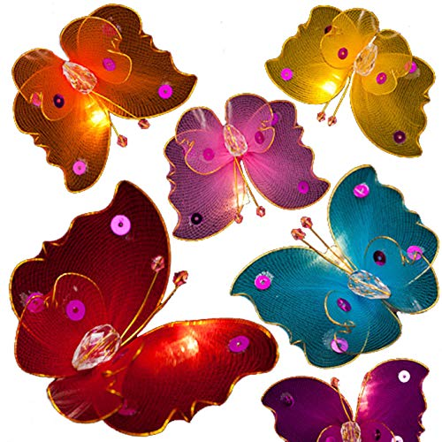BLAZE ON Magical Haute Couture Butterfly Fairy Lights (Rainbow Colours) - 20 LED Lights - UK Plug - Safe - Indoor - Low Voltage - Decorative Lights - DC 31V