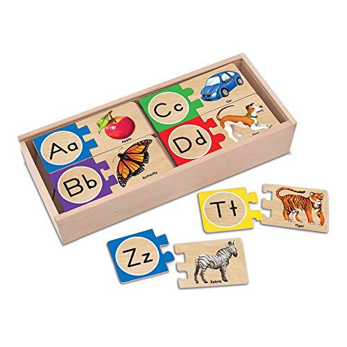 『Melissa & Doug Self-Correcting Alphabet Wooden Puzzles With Storage Box (52 pcs)』のトップ画像