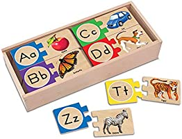 Melissa & Doug Self-Correcting Alphabet Letter Puzzles, Developmental Toys, Wooden Storage Box, Detailed Pictures, 52...