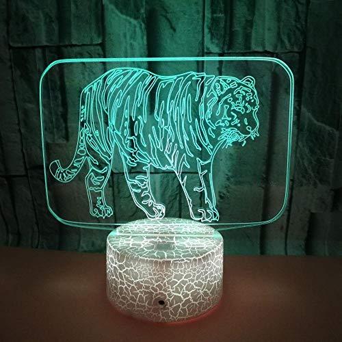 3D tijgerled-nachtlampje, nachtkastje lampje 7 kleuren kunnen worden aangeraakt en het licht van de USB-kabelkinderen kan kleursluipppplichten en bureaudecoratie veranderen.