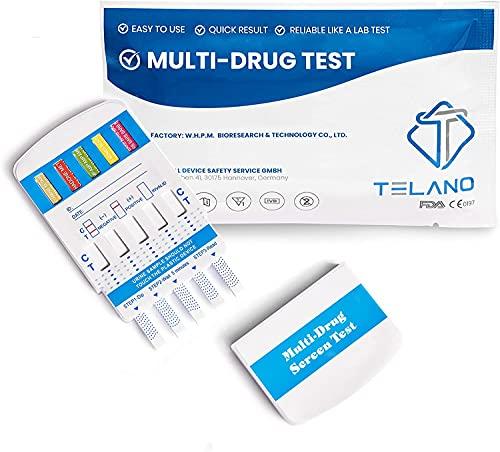 Telano® Drogentest Multi 10 Urin - Drogenschnelltest für 10 Drogenarten Cannabis THC - Kokain - Amphetamine - Ketamine - Methamphetamin - MDMA - Opiate - Benzodiazepine - Methadon - Barbiturate