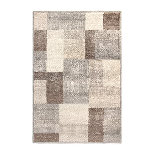SUPERIOR Designer Clifton Collection Area Rug - Modern Area Rug, 8 mm Pile, Geometric Trellis Pattern with Jute Backing, Beige, 2' x 3'