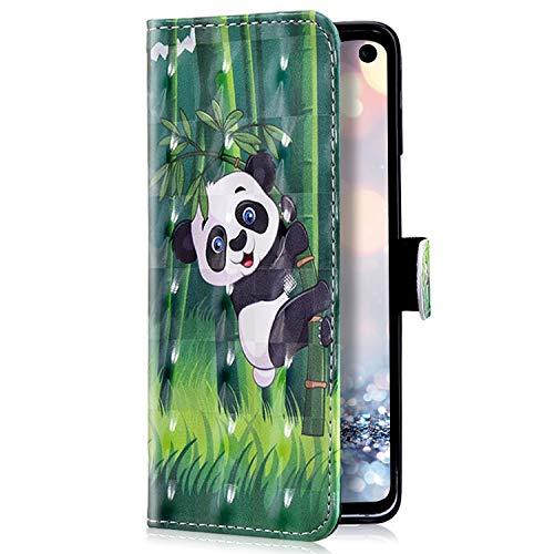 Uposao Kompatibel mit LG G8 ThinQ Handyhülle Glänzend Glitzer Leder Hülle Brieftasche Wallet Case Flip Schutzhülle Tasche Bookstyle Klapphülle Magnetisch Kartenfach Ständer,Panda