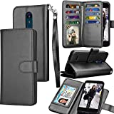 Tekcoo Wallet Case for LG Tribute Dynasty/Empire/Aristo 2 3 / LG Phoenix 4/Fortune 2/Rebel 3 LTE, ID PU Lether Purse Cash Credit Card Holder Carrying Folio Flip Cover [Detachable Case] -Black