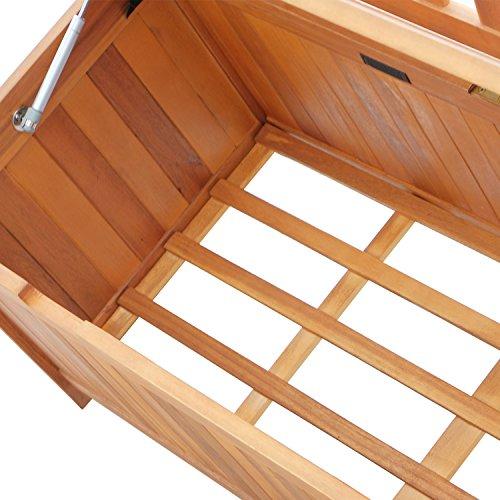 Outsunny Gartenbank Truhenbank Sitzbank mit Stauraum 2-Sitzer Holz Braun B120 x T60 x H87cm - 9