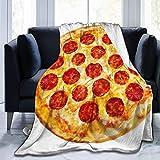 YJWLO - Manta de Microforro Polar para Cama, sillón, Sala de Estar, Color Rojo, Pizza de Pepperoni en rodajas Rojas, 60'x50'