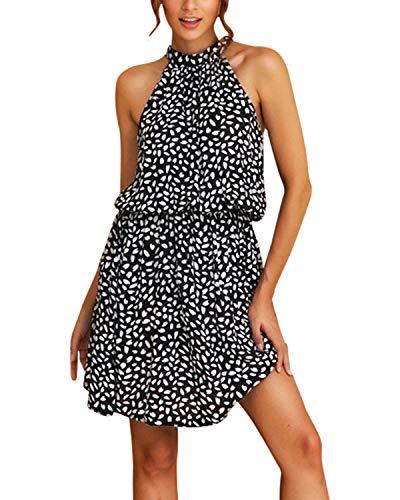YOINS Vestido de verano para mujer, largo hasta la rodilla, sexy, vestido de cóctel, para novia, playa, estampado de leopardo, sin mangas, línea A Flores negras. XL