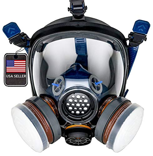 PD-100 Full Face Organic Vapor & Particulate Respirator - Dual Activated Charcoal Filtration - Full...