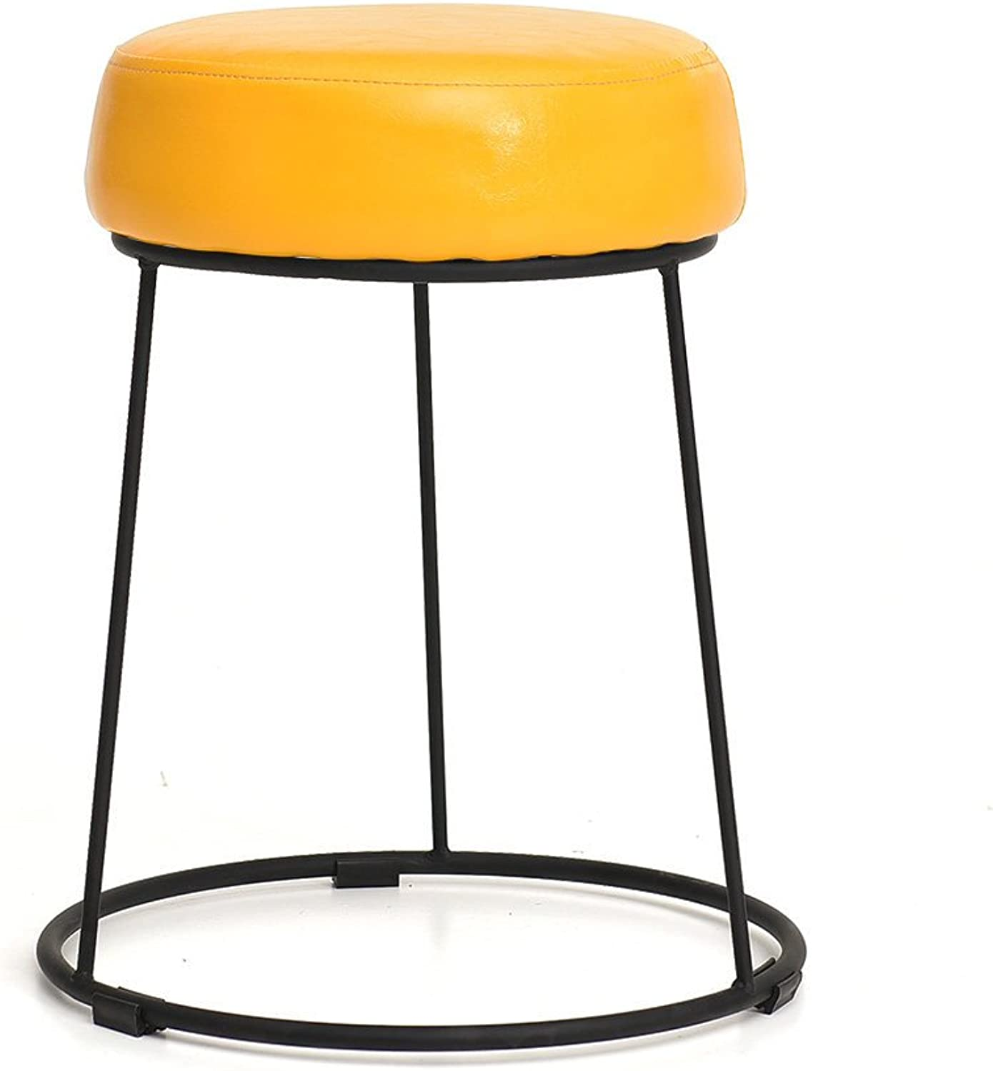 Wrought Iron Creative Stool,Linen Leather Modern Simple Nordic Style Minimalist Multifunctional Living Room Home Bedroom Dining Room Multicolor Stool-N