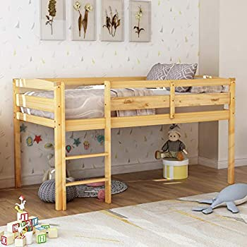 P PURLOVE Loft Bed Twin Wood Low Loft Bed Frame for Girls and Boys with Ladder Twin Size Natural Color
