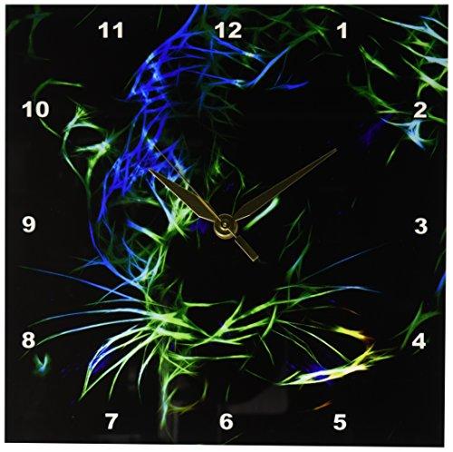 3dRose DPP 201100_ 1un Leopardo en Color Verde Azulado neón Fractal líneas en un Fondo Negro Reloj…