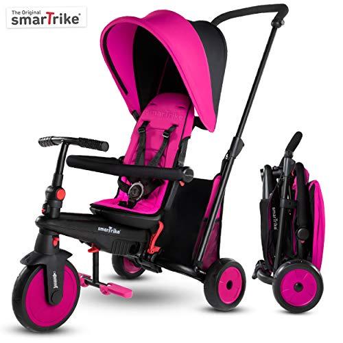 smarTrike STR3 Klappbares Kleinkinder-Dreirad mit Kinderwagen-Zertifizierung für 1,2,3 Jahre - 6 in 1 Mehrstufiges Dreirad , Rose