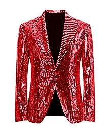 Red/C Splendid Sequins Lapel Tuxedo Jacket