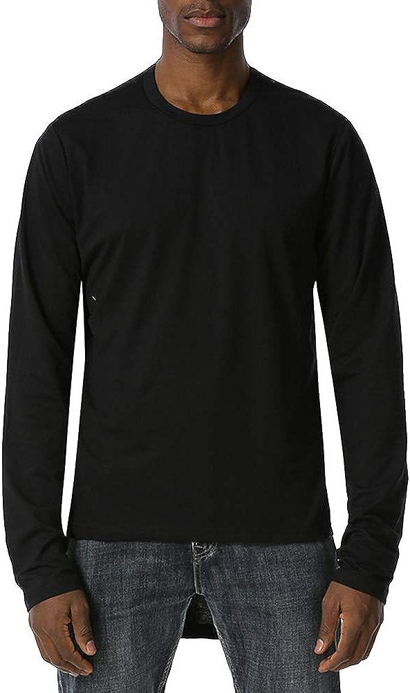 Mens Fashion Athletic Shirts Novelty Solid Color Tops Long Pullover Shirt