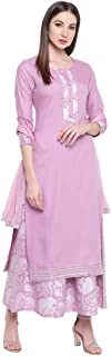 Khushal K Women's Rayon Solid Kurta With Palazzo and Dupatta Set