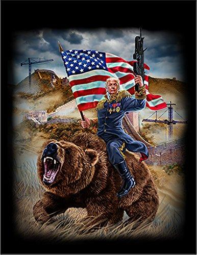【クマにまたがるトランプ大統領】 余白部分にオリジナルメッセージお入れします!ポストカード・はがき(黒背景)