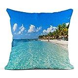 Kinhevao Cojín Riviera Maya Paradise Beaches en Cancún Quintana Roo México Costa del Caribe Destino Tropical Cojín de Lino Cojín Decorativo para el hogar