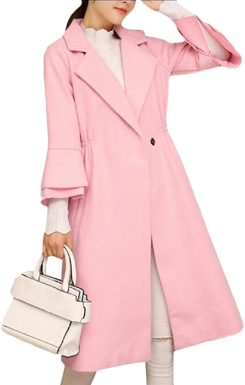 Doanpa Womens One Button Skinny Notch Collar Fleece Classic Walker Coat