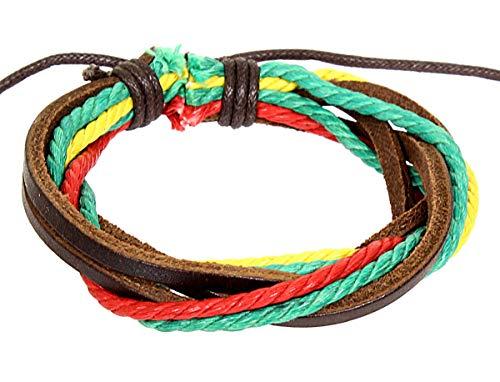 Pain-is-Art Armband aus Leder in bunt Rastafari mit gleitendem Knotenverschluß Lederarmband