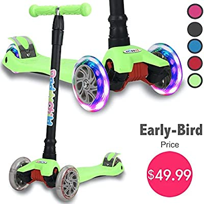 Kick Scooter for Kids, 4 Adjustable Height, Lean to Steer with PU Light Up Wheels, Training Balance Toys for Children from 2 to 14 Year-Old, Gifts for Child (Green)
