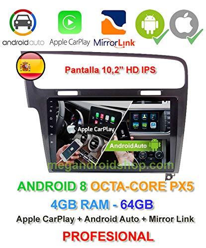 Radio 2din GPS, Android 8, Pantalla IPS, OctaCore PX5 64bits, 4GB DDR3 RAM, 64GB para Volkswagen Golf 7 a Partir del 2012