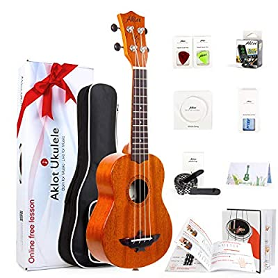 Aklot Ukulele Solid Mahogany Ukelele Beginners Starter Kit with Free Online Courses and Ukulele Accessories
