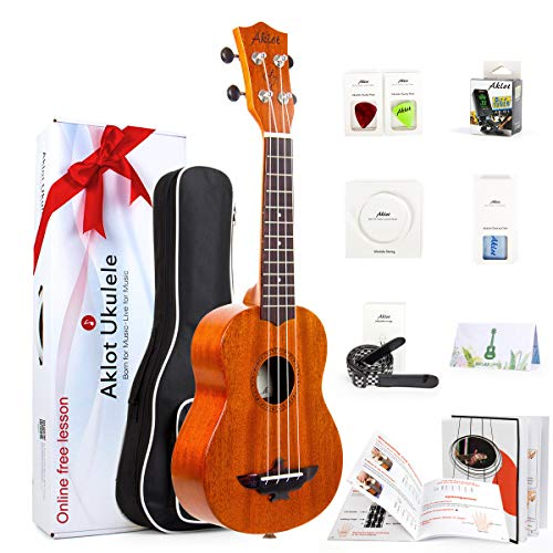 "AKLOT Soprano Ukulele Solid Mahogany Ukelele 21"" Beginners Starter Kit with Free Online Courses and Ukulele Accessories"