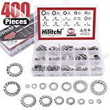 Hilitchi 400-Pcs 304 Stainless Steel External Internal Tooth Star Lock Washers Assortment Kit - Included: M2...