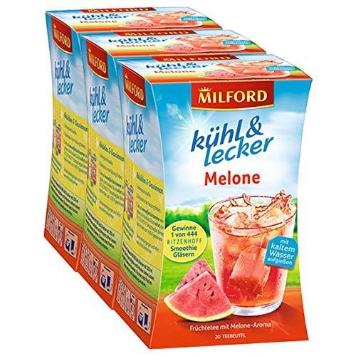 Milford kühl & lecker Melone, 20 Teebeutel, 3er Pack