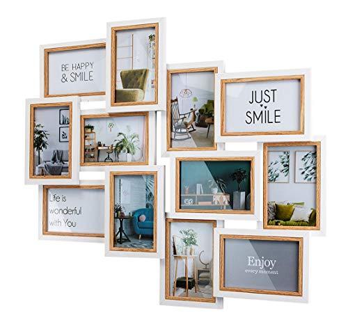 Kobolo Bilderrahmen-Collage - Big - Holz - weiß Natur - 12 Bilder - 51x59 cm
