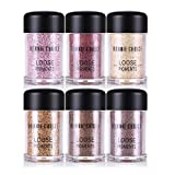 BONNIE CHOICE 6 Colors Glitter Eyeshadow Power, Loose Pigments, Loose Eyeshadow, Highly Pigmented Eye Glitter Makeup Eye Shadow Powder Shimmers for Party, Festival, Makeup, Nail Art Tips Decoration