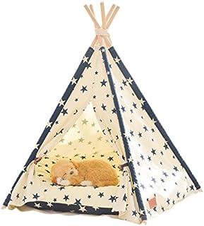 little dove, Hund tipi-tält, hem och tält med spets för hund eller husdjur, avtagbar och tvättbar med matrase, stjärna (S)