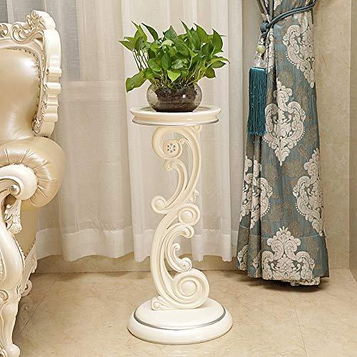 TAO Balcon de style européen support de fleurs sculpté Bonsaï vert Support de plancher Salon support d'affichage blanc multicouche Support de fleurs simple (Couleur : Ivory silver)