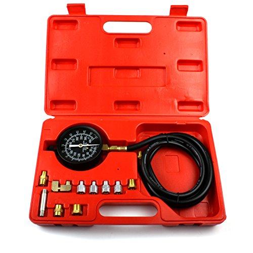 ECD Germany Öldruckmesser Set 12 TLG. 0-28 bar Öldruckprüfer Druckprüfer Öldrucktester Öl Messgerät Prüfgerät Öldruck Tester Kraftstoffdruckprüfer Krafststoffdruckmesser Prüfer Werkzeug KFZ Auto PKW