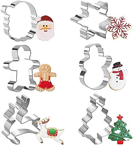 Olywee Weihnachten Ausstechformen Set von 6 Schneeflocken, Weihnachtsbaum, Schneemann, Lebkuchenmann, Santa Gesicht und Rentier Formen Edelstahl Keksausstecher Set zum Backen