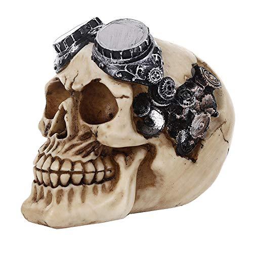 VOANZO Steampunk Pilot Aviator Robotic Skull Estatua de ciencia ficción Figura decorativa con diseño de mecanismo de engranajes en 3D que sobresale