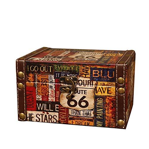 Katigan Maleta Decorativa de Almacenamiento Vintage PequeeA Caja de Madera Retro Casket Lock Caja de Almacenamiento de Escritorio Acabado Muhe Jewelry Box 66 Road