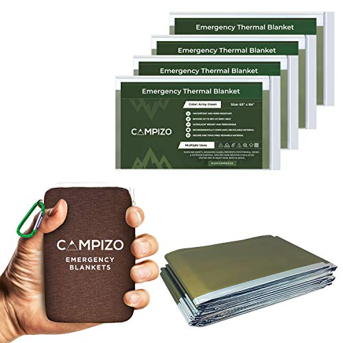 Campizo Emergency Blankets - Pack of 4 Extra Large - Thermal Space Blanket for Hiking, Camping, Marathon, Prepper and First Aid Survival Kits