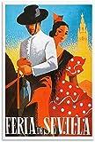 VVBGL Laminas para Cuadros Poster de Paisaje de Viaje Vintage Feria DE Sevilla Lienzo artístico póster y Arte de Pared impresión de Cuadros Poster de Decoracion moderna50x70cm x1 Sin Marco