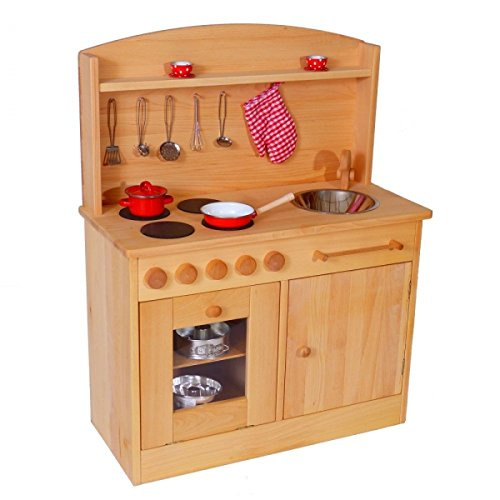 Massivholz-Kinderküche 2024N Natur-Spielzeug-Küche - Herd - Spüle - Backofen - 2