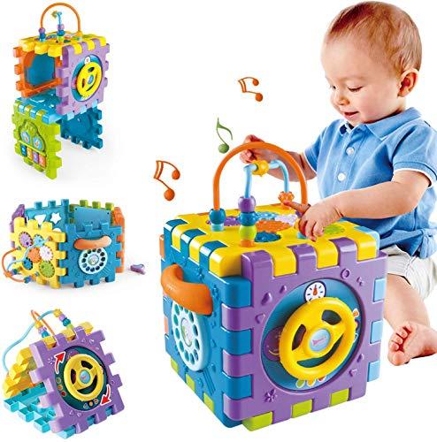 TDOYO Juguetes para Bebé 6-18 Meses Juguete Cubo de Actividades para Bebé, Centro de Juegos Multipropósito 6 en 1 con Música Los Mejores Juguetes de Regalo para Niños y Niñas,Purple