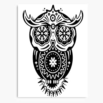 De Decorated Tattoo Skulls Sugar Owl Dias Folklore Canvas Wall Art Printed Modern to Decoration for Living Room Bedroom Kitchen Office Hotel Dining Room Office Bathroom Bar Etc