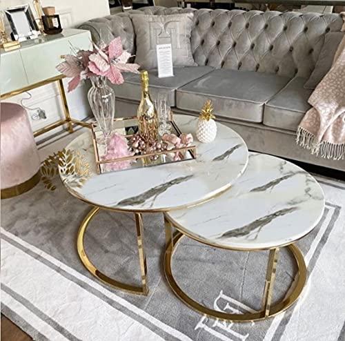 Set di 2 tavolini rotondi impilabili, con piano in MDF bianco marmo e gambe metalliche dorate, 80 x 80 x 45 cm/60 x 60 x 40 cm