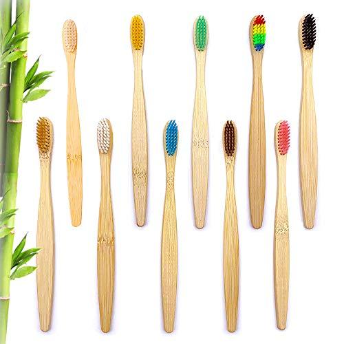 10 Pack Bambus Zahnbürsten, Bambus-Holz Zahnbürsten, Nachhaltige Holzzahnbürste Biologisch, Holz Bambuszahnbürste mit Aktivkohle für Beste Sauberkeit, Vegan, BPA frei, für weissere Zähne