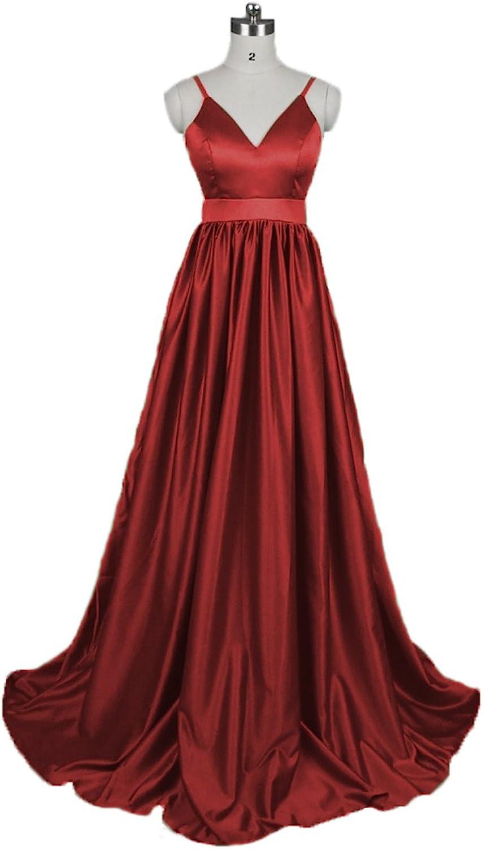 Graceprom Cheap Spaghetti Straps Prom Dress Satin Backless Evening Dress
